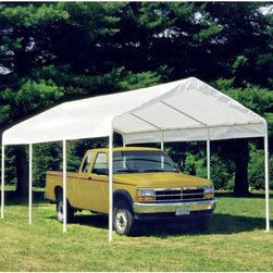 ShelterLogic - ShelterLogic Canopy Cover with Enclosure Kit Multicolor - 23529 - Shop for Sheds and Storage from Hayneedle.com! From the #1 shelter manufacturer in North America comes the ShelterLogic 10 x 20 2-in-1 Canopy Pack a professional-quality canopy that effortlessly provides instant shade and protection from the elements. Housing a number of excellent innovations in shelter design and built from only the most dependable materials this piece promises to work perfectly in any situation - from decks and patios to vehicle storage and special events. The ShelterLogic 10 x 20 2-in-1 Canopy Pack features:Sturdy high-grade 1.375-inch-thick steel frame subjected to a proprietary 13-step Rhino Shield steel surface preparation process then bonded with DuPont thermoset baked-on powder coat. Prevents chipping peeling rust and corrosion.Advance-engineered triple-layer polyethylene cover UV-treated inside and out with patented fade blockers and anti-aging/anti-fungal agents resulting in a 100% waterproof cover that withstands the elements.Polyurethane lining double-stitched and sealed for optimal water resistance and drip-free seams.Quick and easy setup built in with slip-together swedged tubing and patented Twist Tite tensioning squares up frames and tightens down covers for a clean and finished look.Fully enclosed shelter goes up or down in minutes using bungee cord fasteners.All of this comes together in the hands of ShelterLogic a company world-renowned for its constant commitment to quality and pioneering designs so well illustrated in this canopy. The ideal shelter solution for any outdoor event the ShelterLogic 10 x 20 2-in-1 Canopy Pack means instant and effortless shade and protection.