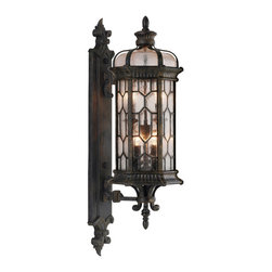 Fine Art Lamps - Devonshire Small Outdoor Wall Mount, 413881ST - Bring a touch of grand English manor to your home's facade. This small wall mount features textured glass panes and an antiqued bronze finish with subtle gold accents.