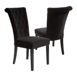 Great Deal Furniture - Paulina Dining Chairs (Set of 2), Black Velvet - The Paulina dining chair provides style and elegance to any room. The sturdy construction and soft material will have you and your guests sitting in luxury. Use as a dining chair or as accent chairs in any room or office.