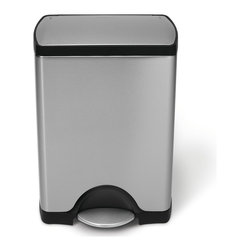 simplehuman - simplehuman Rectangular Step Brushed Stainless Steel Trash Can (8 Gallon) - Keep your trash neatly tucked away in this durable stainless-steel trash can by Simplehuman. It uses eight-gallon garbage bags,and it has a foot lever that will allow you to open and close the can without touching the lid or the garbage inside.