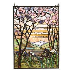Meyda Tiffany - Meyda Tiffany Tiffany Magnolia Stained Glass Window X-98589 - A visually stunning work of art, this Meyda Tiffany stained glass window features an awe-inspiring nature scene. Trees flank a mountain view, creating a nature-styled frame that draws the eye in. Warm tones create a feeling of sunset, while beautiful shades of green complete the look.