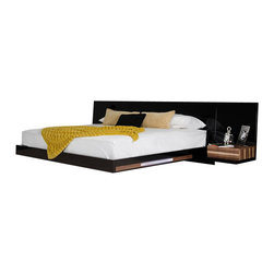 VIG Furniture - Salento - Contemporary Floating Modern Bed Set With Lights, Queen - Transparent acrylic leg keeps the bed floating
