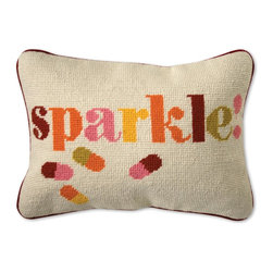 Jonathan Adler - Jonathan Adler Sparkle Needlepoint Throw Pillow - • handmade 100% wool needlepoint• velvet backed with hidden zipper• feather/down insertGranny gone wild! No longer granny's occupational therapy, we believe needlepoint is hipper than hip!