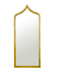 Worlds Away Adina Gold Leaf Mirror - Morrocan style gold leaf iron mirror. Mirror insert non antiqued.