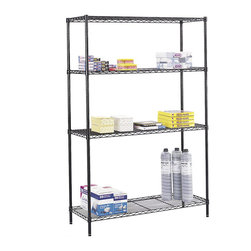 "Safco - Safco 48"" x 18"" Industrial Wire Shelving - Safco - Wire Storage - 5291BL - Includes 4 shelves 4 posts and snap-together clips. Strong welded wire construction with a per shelf capacity of 1000 lbs. (with weight evenly distributed). Open wire design permits air circulation and prevents dust accumulation. Shelves adjust in 1"" increments. Unit assembles in minutes without tools. Optional Add-On Unit and Extra Shelf Pack available to meet specific requirements. Available in Black or Metallic Gray powder coat finish."
