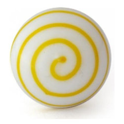 "Potteryville - Swirl Glass Knobs, White knob with Yellow Swirl - White knob with Yellow Swirl glass knob. Unique glass knobs for your kitchen cabinets. 1"" in    diameter. Includes screws for installation."