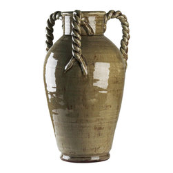 Zentique - Grey Vase - Display a bouquet in this impressive piece of pottery. Classic in shape with the twist of three rope-inspired handles, it makes an elegant addition to your decor.