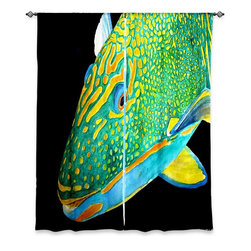 """DiaNoche Designs - Window Curtains Unlined by Marley Ungaro - Deep Sea Life- Parrot Fish - DiaNoche Designs works with artists from around the world to print their stunning works to many unique home decor items.  Purchasing window curtains just got easier and better! Create a designer look to any of your living spaces with our decorative and unique """"Unlined Window Curtains."""" Perfect for the living room, dining room or bedroom, these artistic curtains are an easy and inexpensive way to add color and style when decorating your home.  The art is printed to a polyester fabric that softly filters outside light and creates a privacy barrier.  Watch the art brighten in the sunlight!  Each package includes two easy-to-hang, 3 inch diameter pole-pocket curtain panels.  The width listed is the total measurement of the two panels.  Curtain rod sold separately. Easy care, machine wash cold, tumble dry low, iron low if needed.  Printed in the USA."""