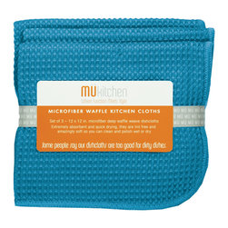 MU Kitchen Sea Blue Waffle Microfiber Dishcloth - These beautiful MU kitchen waffle microfiber towels are made from the revolutionary microfiber  a specially designed cloth that is woven in a unique pattern from polyester fibers that create tiny scoops that suck up dirt and attract micro-particles. Microfiber is softer than silk and stronger than cotton. The cloth is so well crafted  it renders harsh cleaning chemicals entirely unnecessary.Product Features                      Set of 3 - 12 x 12 in. dish towels           Waffle microfiber          Extremely absorbent and quick drying          Lint free and amazingly soft          Clean and polish wet or dry          Reduces bacteria growth with quick drying time          Finished with a hanging loop for convenience
