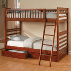 Coaster - 460193 Twin/Twin Bunk Bed - Clean lines in an oak finish contribute to relaxed style, while the built in guard rail and ladder add to safety and convenience. Two under-bed storage drawers provide room for extra linens or miscellaneous items.