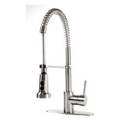"Ultra Faucets - European Style Lead Free Coil Spring Brushed Nickel Kitchen Faucet& Deck Plate - European Style Lead Free Coil Spring Kitchen Faucet. Brushed Nickel Finish. Single Hole Installation. Matching Brushed Nickel Finish Deck Plate Included. Dimensions 18"" x 3-3/4""."