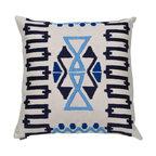 Ankasa - Geometric Zig Zag Pillow - Sunbrella linen pillow with geometric zig zag arri embroidery.