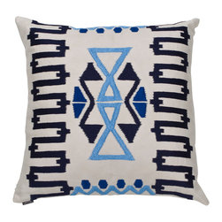 Ankasa - Geometric Zig Zag Pillow - Sunbrella linen pillow with geometric zig zag arri embroidery.