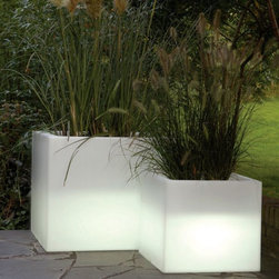Cubotti Indoor-Outdoor Lighted Planter - The Cubotti illuminated planter will rotate through several different colors or can be commanded to set onto one color. The inside of the planter has a molded basin for planting.