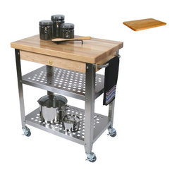 None - John Boos CUCR3020 Cucina 30x20x35 Rosato Cart and Cutting Board - Store some of you kitchenware and cut your vegetables in comfort with the John Boos Cucina Rosato cart and cutting board.