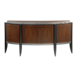 Lee Weitzman Furniture - Argentine Sideboard - Chestnut Brown Birdseye maple facade. black semi gloss legs, silver leaf with black detailing. Black Granite Top.  Black lacquer interior with one continuous adjustable shelf.