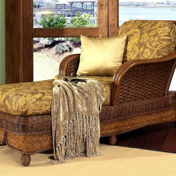 Boca Rattan - Moroccan Chaise Lounge w Cushion in Urban Mah - Fabric: 641Several different weave styles give this island inspired rattan chaise lounge a dramatic look that will easily enhance your home's decor. A perfect choice for a sun room or screen porch, the chaise is finished in urban mahogany and features a cushion in your choice of diverse fabric options. Cushion included. Indoor use only. Leather bindings. Constructed from strong and durable rattan. 63.5 in. L x 33.5 in. W x 36 in. H (95 lbs.)