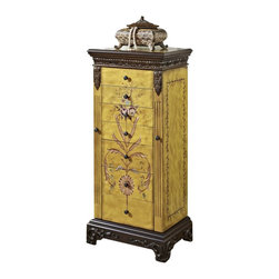 Powell Furniture - Powell Furniture Masterpiece Hand Painted Jewelry Armoire - Powell Furniture - Jewelry Armoires - 582314 - Antique Parchment Hand painted Jewelry Armoire is hand painted with floral arrangement on the face and hand carved with the look of Golden Antique Parchment. Includes a flip top with inset mirror. Reveals 2 rows of ring pads and open center section. There are 7 fully lined and divided drawers: 1st drawer- 9 squares 2nd drawer- 6 squares and 3rd through 7th drawers- open. 2 swing doors with 100% rayon brown lining. Minimal assembly attach top only.