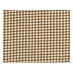 """Close to Custom Linens - 72"""" Tablecloth Round Suede Brown Gingham with Ticking Topper - A charming traditional gingham check in suede brown on a cream background. 72"""" round cotton tablecloth."""