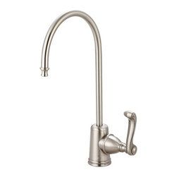"Kingston Brass - Royale Water Filtration Faucet, Satin Nickel - The Royale collection of water filtration faucets features a stylish hand lever layered with a long slender J-shaped spout. The surface is made from our solid brass construction built for reliance and long-lasting effectiveness.; Fabricated from high quality brass material for durability and reliability; Lifetime hardisc ceramic cartridge; 3/8"" -14 NPS male threaded inlet shank; Install in decks up to 2"" thickness; 1/4"" turn ON/OFF water control mechanism; Max 2.2 GPM (8.3 LPM) water flow rate at 60 PSI; Material: Brass; Style: Classic; Faucet Holes: 1; Flow Rate GPM: 2.2; Valve Type: Ceramic Disc; Faucet Centers: Single Post; Spout Height: 11; Spout Reach: 6; Max Deck Thickness: 2; Handle Style: Metal Lever; Number of Handles included: 1; Weight: 1.65 lbs; Dimensions:15.27""L x 7.40""W x 2.74""H"