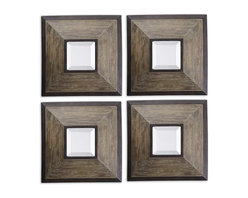 Uttermost - Fendrel Squares Wood Mirror Set of 4 - Here's a case of you deciding exactly what you want these mirrors to do. You can stack them top to bottom. Line them up side to side. Use them to form a square, a circle or separate them totally and put each in a different place. How fun is this going to be?
