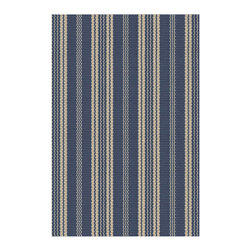 Dash & Albert - Dash and Albert Indoor/Outdoor Otis Navy Rug - Dash & Albert's Otis rug supplies sophisticated style to indoor and outdoor spaces. Navy and beige hues form a classic striped pattern for a charming aesthetic. Woven polypropylene; Indoor/outdoor safe; Hose down and hang dry; Rug pad recommended; Scrubbable, bleachable, hoseable and UV-treated; 2'W x 3'H, 3'W x 5'H, 2.5'W x 8'H, 4'W x 6'H, 6'W x 9'H, 8.5'W x 11'H