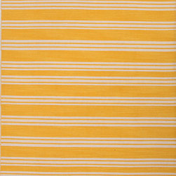 Jaipur Rugs - Flat-Weave Stripe Pattern Wool Blue/Ivory Area Rug ( 2x3 ) - Bold color is the name of the game with Pura Vida. This beautiful collection of durable, reversible flat-woven dhurries combines the classic simplicity of linear patterns with a decidedly modern palette for a look that's at once casual and sophisticated.