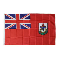 Flagline - Bermuda - 3'X5' Polyester Flag - Made of a high quality polyester material, our Dura-Poly  Bermuda flag measures 3' x 5' and includes vivid colors and an accurate design. Screen-printed on a durable 150 denier shiny polyester material and finished with a double stitched hem, this flag features a white fabric header with two brass grommets on the 3' side for easy display. The flag is best used indoors but can withstand occasional outdoor use. The authentic design is based on information from official sources. Bermuda is a British Overseas Territory.