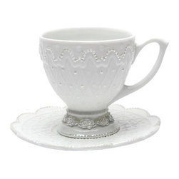 ATD - Decorative Rose Flower Themed White Porcelain Cup and Saucer Set - This gorgeous Decorative Rose Flower Themed White Porcelain Cup and Saucer Set has the finest details and highest quality you will find anywhere! Decorative Rose Flower Themed White Porcelain Cup and Saucer Set is truly remarkable.