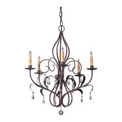 Kathy Kuo Home - Curved Wrought Iron Art Nouveau Chandelier - Delicate curves of wrought iron bend and flow with all the grace that is found in Art Nouveau interiors and lighting. Crystal half pear droplets hang like precious dew from the arms while five lights cast an elegant glow.