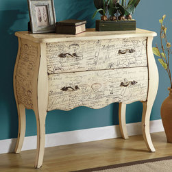 Coaster - 950116 Accent Cabinet - Add a vintage look to any room with this off white bombe chest with two drawers. Finished with a French script pattern.