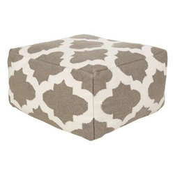 Surya - Taupe and Cream Poufs in Two Sizes by Surya - A simplistically patterned 100% wool ottoman is available in two sizes for your comfort. Add a soft pop of design to your room with this taupe and ivory pouf. (SUR)