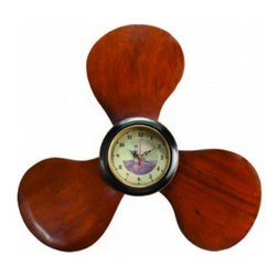 """Handcrafted Model Ships - Wooden Propeller Clock 22"""" - Nautical Clock - This Wooden Propeller Clock 22"""" is the perfect addition to nautical theme decor. For those looking to spruce up their room, add our wooden propeller clock to compliment a bedroom set, mirror or other nautical furniture. This clock is fully functional and can be mounted easily to any wall."""