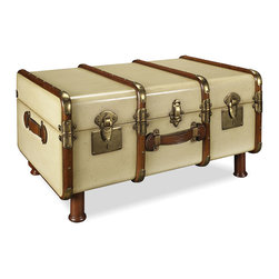 Thos. Baker - stateroom trunk - Steamed cherry wood slats make up the frame of this decorative steamer truck. The hardware is solid brass and includes a working lock and two keys. The handles are made from genuine bridle leather.�