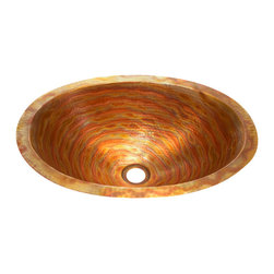 "Artesano Copper Sinks - Flat Rim Oval Bathroom Copper Sink - Flat Rim Oval Bathroom Copper Sink 19 x 14 x 6"" for Undermount installation, 1"" rim, all hand made, all copper, all hammered"
