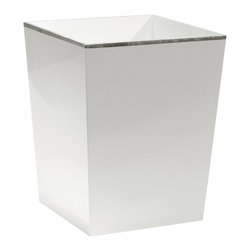 Bungalow 5 - Chiffany Waste Bin in White - The Chiffany waste bin combines a crisp white color with shimmering silver trim and offers a timeless bedroom or bathroom accent. This product is made from MDF with a lacquer finish.