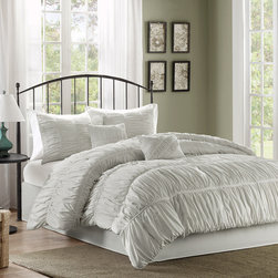 Madison Park - Madison Park Pricilla 6 Piece Comforter Set - The Pricilla Collection is where style meets comfort. The face of the comforter and shams are manipulated with light grey rouched fabric that gives a billowy and soft look going horizontal direction on the bed. This comforter and sham are made from soft, brushed microfiber fabric for easy care. The bedskirt features a tailored solid light grey fabric. Two decorative pillows are included in the set to complete the whole look. Comf and sham face: 100% polyester microfiber ruched on TOB; back: microfiber, Filling: 250gsm; Bedskirt platform: non woven fabric drop: microfiber