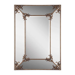 Uttermost - Ansonia Antique Gold Mirror - Add some Victorian panache to your spaces with this beveled antique gold mirror. Adorned with floral accents, it shines both as an art piece and a mirror. Its large size makes it ideal for your bedroom or as a standout addition to your traditional living room or dining room.