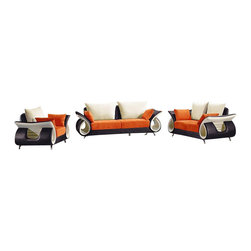 VIG Furniture - 2256 Multi-Colored Microfiber Fabric Three Piece Sofa Set - The 2256 sofa set will add a unique and stylish modern design to your living room decor. This sofa set comes upholstered in a stylish multicolored microfiber fabric. The colors represented on this sofa set are black, orange, and white. High density foam is placed within each piece for added comfort. The sofa set features a unique curved hollow arm design that adds to the overall look. The sofa set includes a sofa, loveseat, and chair only.