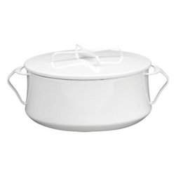 Dansk® Kobenstyle White 4-Quart Casserole - Kobenstyle, the Scandinavian enameled steel oven-to-table cookware designed for Dansk® by Jens Quistgaard in 1956, is now back and available at Crate and Barrel. A collectors' item since going out of production more than 20 years ago, Kobenstyle is crafted of lightweight enameled steel and instantly recognizable for its high-gloss colors, welded cool-touch sculptural handles and inventive lids that double as trivets.