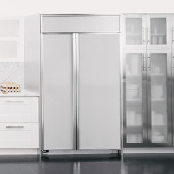 """48"""" Built-In Side-by-Side Refrigerator - Among the largest-capacity built-in refrigerators available.GE Monogram® built-in side-by-side refrigerators have a two-door configuration with a wide range of features available, including an optional water and ice dispenser that's easily accessible through the freezer door."""