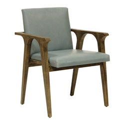 Palecek - Lennon Arm Chair - Mid-century modern form is contemporized on the sleek Lennon arm chair. Tapered legs rise in curved formaton, resulting in an eclectic juxtaposition with its simple seat and clean-lined arms. Available in several upholstery and finish options; Option to send in up to 2 COM fabrics; Plantation mahogany frame and legs
