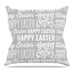 "KESS InHouse - KESS Original ""Happy Easter"" Gray White Throw Pillow, Indoor, 16""x16"" - Rest among the art you love. Transform your hang out room into a hip gallery, that's also comfortable. With this pillow you can create an environment that reflects your unique style. It's amazing what a throw pillow can do to complete a room. (Kess InHouse is not responsible for pillow fighting that may occur as the result of creative stimulation)."