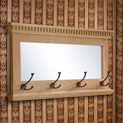 Mirrored Solid Oak Coat Rack with Triple Coat Hooks - With its traditional design and solid oak construction, this coat rack will add style and function to your home. It features intricate dentil molding, a mirror and four triple prong coat hooks mounted onto the bottom of the oak frame.