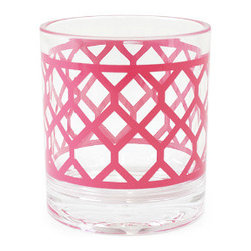 Pink Positano Rocks Glass - Hot pink accents are much more modern than spring's usual pastels.