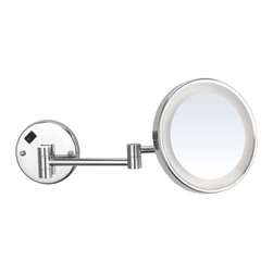Nameeks - Round Lighted 3x Magnifying Mirror, Chrome - This circular makeup mirror mounts to your bathroom wall .