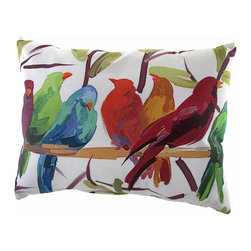 "Manual - ""Flocked Together"" Colorful Birds Indoor/Outdoor Throw Pillow - This 24 inch x 18 inch throw pillow adds a wonderful accent to inside your home, or outdoors on your porch or patio. The Climaweave fabric is durable, fade and moisture resistant, and is sure to look and feel great for years, wherever you display it. The pillow features a row of colorful birds on a perch on either side that resemble a beautiful watercolor painting. It is made of 100% polyester, from the cover to the soft stuffing, and is proudly made in the USA."