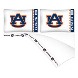 Sports Coverage - NCAA Auburn Tigers Football Queen Bed Sheet Set - Features:
