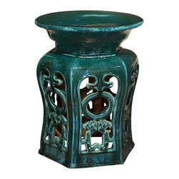 China Furniture and Arts - Porcelain Temple Garden Stool - With an antique drip-mottled glaze finish, our handcrafted earthenware pedestal was adopted from those originally used in the temple gardens in the Far East. The hand-applied finish creates variations in its color making each seat distinct with individual signature. Can be used indoors and outdoors as an end table or as a pedestal. Imported.