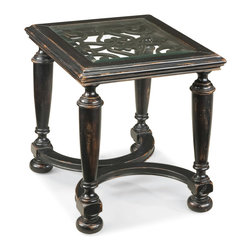 Ambella Home - Scrolling Gate End Table - Play peek-a-boo with this hand crafted, scrolled end table. Inset beveled glass perches over a delicate fretwork and the antique ebony finish gives it the old-world European cache you're looking for.